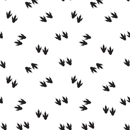 Minimal seamless pattern with dinosaur foots. Black and white colors. Vector illustration.