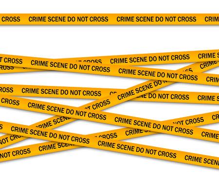 Crime scene do not cross yellow police tape. Vector illustration
