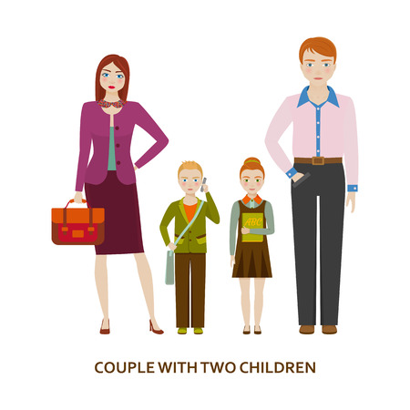 wedding couple: Couple with two children. Cartoon vector illustration