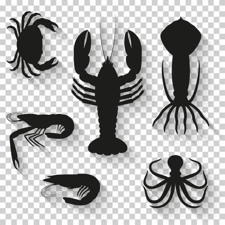 Seafood icons set. Silhouette icons with shadow on transparent background. Vector illustration.