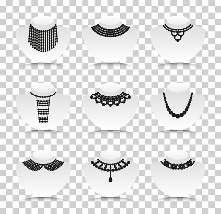 necklet: Bead silhouettes set. Silhouette icons with reflection on transparent background. Vector illustration.
