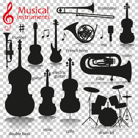 Music instruments. Silhouette icons with reflection on transparent background. Vector illustration.