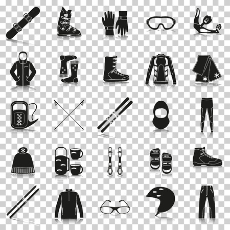 Equipment for winter sports. Silhouette icons with reflection on transparent background. Vector illustration.