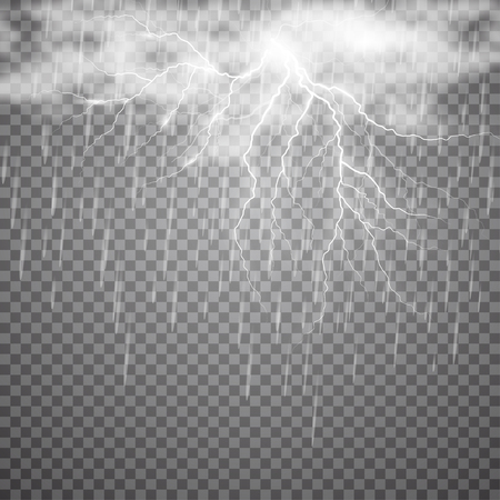 Realistic vector lightning with rain and cloud on checkered background. Bright, electric lightning. Illustration