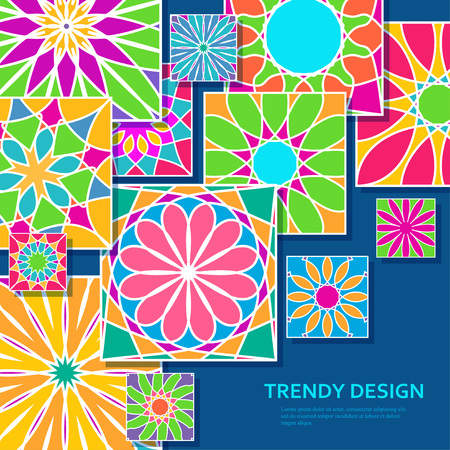 Trendy background with decorative colorful tiles. Bright ornamental elements. Vector illustration. Illustration