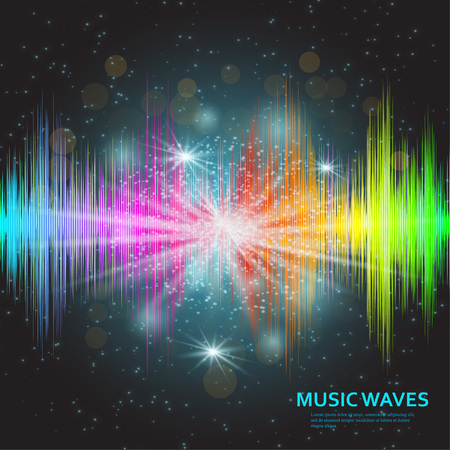 Music waves background. Rainbow sound music equalizer with lights. Vector illustration