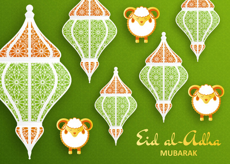 Eid Al Adha Background. Islamic Arabic lantern and sheep. Greeting card. Vector illustration. Illustration