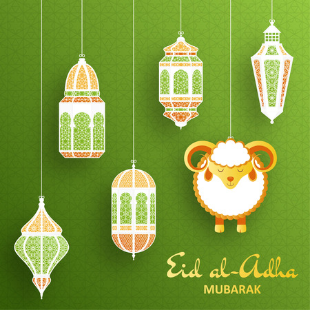 green lantern: Eid Al Adha Background. Islamic Arabic lantern and sheep. Greeting card. Vector illustration. Illustration