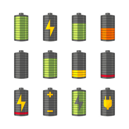 Phone or smartphone battery icons with various charges from fully charged to empty. Isolated on the white illustration.