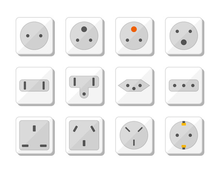 Power socket icon set. World standards for different country plugs. Vector illustration. Vettoriali