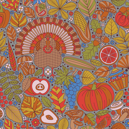 Thanksgiving day seamless pattern. Various elements for design. Cartoon vector illustration. Autumn background