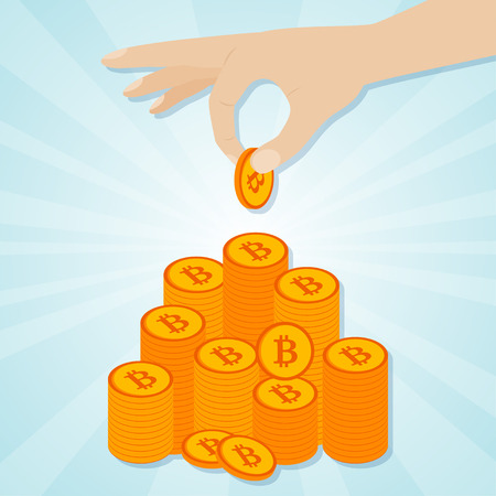 Hand laying golden bitcoins to staircase. Vector illustration
