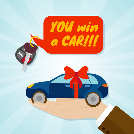 Hand giving car with red ribbon and key. Rental or sale concept. Vector illustration