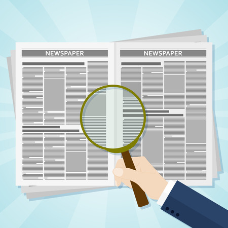 Hand holding a magnifying glass on Business news newspaper. Vector illustration. Illustration