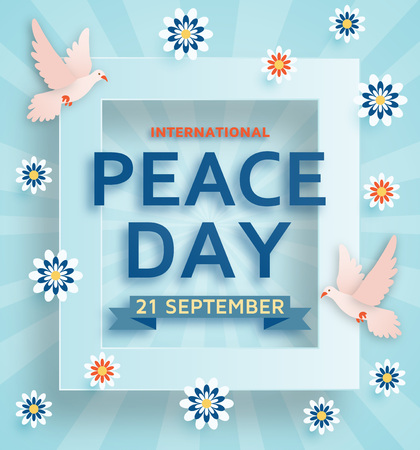 International Peace Day background with doves. Vector illustration.
