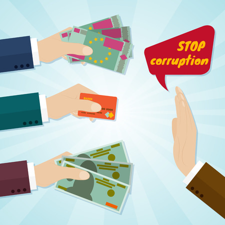 Hands giving card or money for bribe. Stop corruption concept. Vector illustration Vettoriali