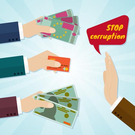 Manos que dan la tarjeta o el dinero para el soborno. Detener el concepto de corrupción. Ilustración del vector