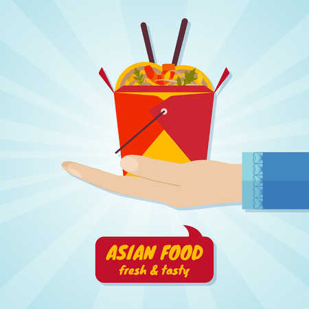 Hand giving box with wok noodles. Asian food concept. Vector illustration. Illustration