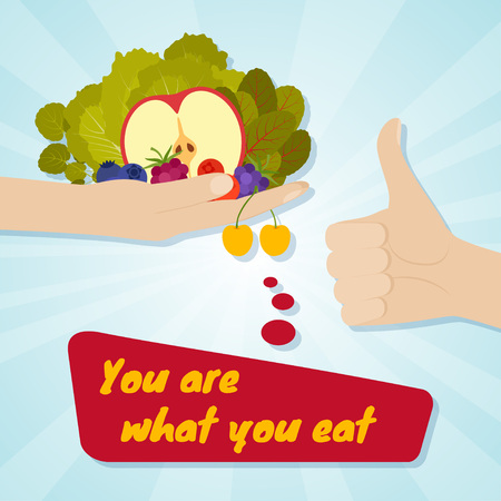 rejection: Hand giving healthy eating. Food choice concept. You are what you eat. Vector illustration.
