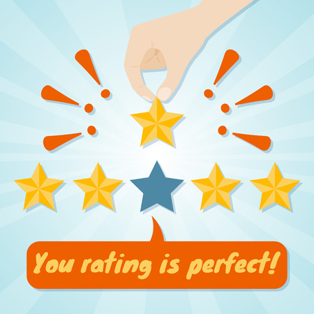Hand giving fifth star rating. Vector illustration 向量圖像