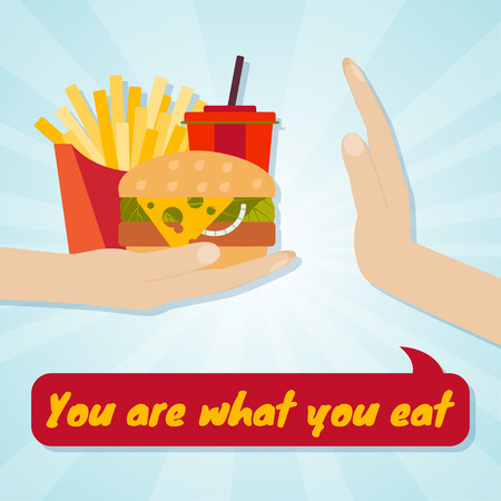 rejection: Hand giving junk eating. Food choice concept. You are what you eat. Vector illustration.