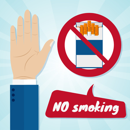 rejection: Hand rejecting proposal smoke from pack in hand. No smoking concept. Vector illustration.