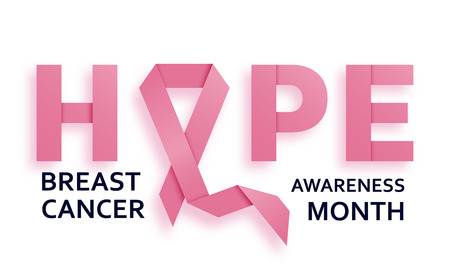 Breast cancer awareness month background with pink ribbon and text hope. Vector illustration