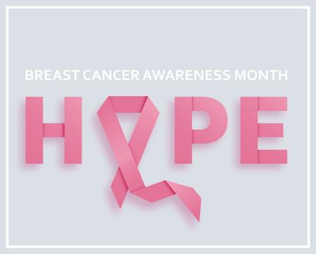 乳房のがん意識月の背景にピンクのリボン、テキスト希望。ベクトル図