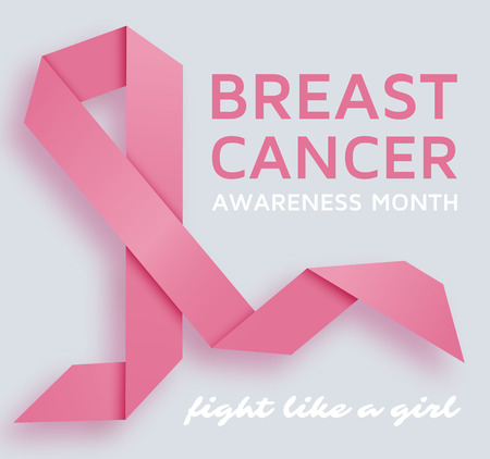 Breast cancer awareness month background with pink ribbon. Vector illustration