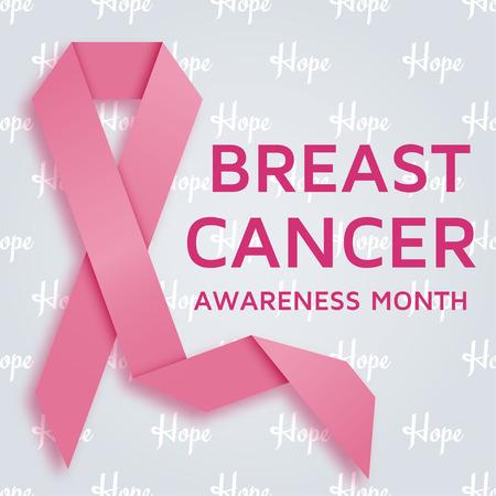 乳房癌意識月背景ピンクのリボン。ベクトル図