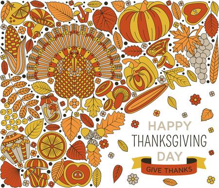 Thanksgiving day greeting card. Various elements for design. Cartoon vector illustration. Illustration