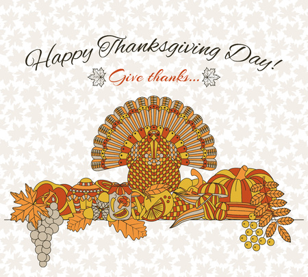 Thanksgiving day greeting card. Various elements for design Cartoon vector illustration.