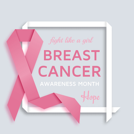 Breast cancer awareness month background with pink ribbon Vector illustration