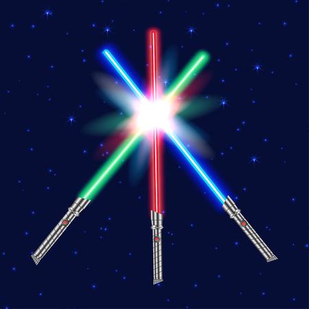 Three Light swords, shiny fight. Vector illustration
