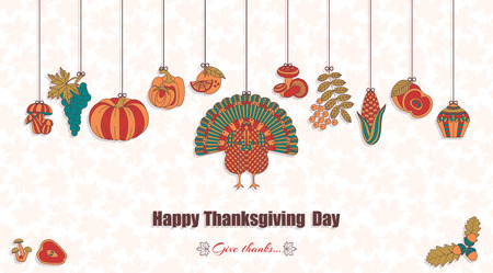Thanksgiving day greeting card. Various elements for design. Cartoon vector illustration. Illustration