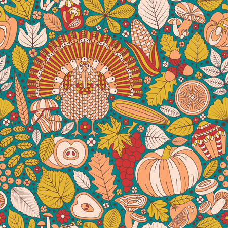 Thanksgiving day seamless pattern vector illustration.
