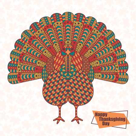 Thanksgiving day greeting card on white background.