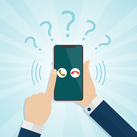 Hand holding smartphone with unknown caller on a screen. Vector illustration. Stock Photo