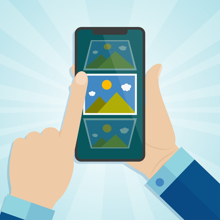 Hand holding smartphone with photo icons on a screen. Vector illustration.
