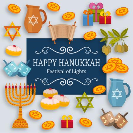 Hanukkah greeting card with Torah, menorah and dreidels. Place for your text.