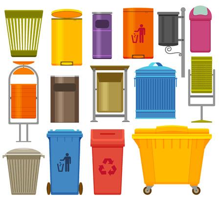 Bunte Ikonen der Abfallbehälter eingestellt, Vektorillustration. Vektorgrafik
