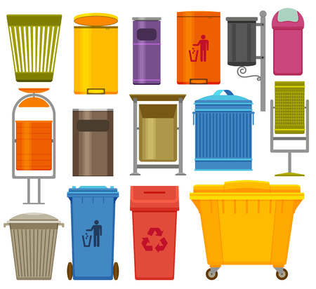 Trash containers colorful icons set, vector illustration.