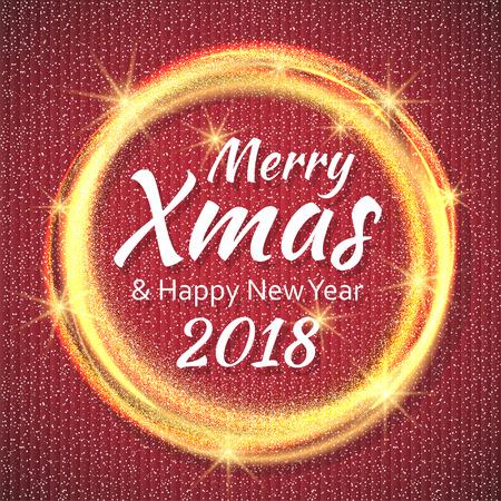 2018, 메리 크리스마스 텍스트와 골드 반짝이 프레임 빨간색과 흰색 카드. 스파클링 휴일 배경, 벡터 먼지 테두리. 크리스마스와 신년 카드, 안내장 및