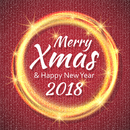 2018, Red and White card with Merry Christmas text and gold glitter frame. Sparkling holiday background, vector dust border. Great for Christmas and New Year cards, invitations and posters.