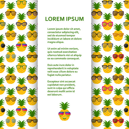Flat poster or banner template with pineapples and glasses. Vector illustration.