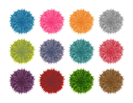 Colorful fluffy pompom set isolated on white background. Vector set
