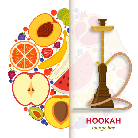 Hookah background with pipe for smoking tobacco and shisha. Pattern with fruits at the back. Vector illustration