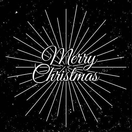 Merry Christmas 2018. Holiday Vector Illustration With Lettering Composition and Burst. Vintage Festive Label