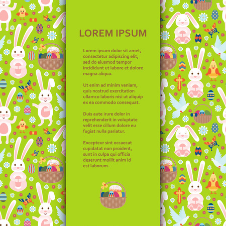 Flat poster or banner template with Easter Bunny, eggs and flowers. Vector illustration. Illustration