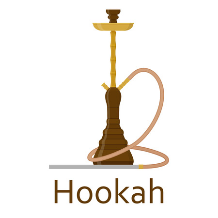 Hookah flat with pipe for smoking tobacco and shisha. Isolated on white background. Vector illustration Illustration